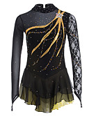 cheap Ice Skating Dresses , Pants & Jackets-Figure Skating Dress Women's / Girls' Ice Skating Dress Black Spandex, Lace Leisure Sports / Competition Skating Wear Handmade Solid Colored / Fashion Long Sleeve Ice Skating / Figure Skating