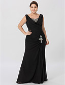 cheap Mother of the Bride Dresses-Sheath / Column Cowl Neck Floor Length Chiffon Mother of the Bride Dress with Beading Criss Cross by LAN TING BRIDE®