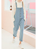 tanie Damskie spodnie-Damskie Bawełna Spodnie szerokie nogawki / Kombinezon Spodnie Solidne kolory Wysoki stan / Wyjściowe