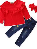 preiswerte Kleidersets für Jungen-Baby Mädchen Freizeit / Aktiv / Punk & Gothic Solide / Gestreift / Blumen Langarm Standard Standard Baumwolle Kleidungs Set Rote 100 / Niedlich