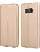 رخيصةأون القمصان وملابس النوم-غطاء من أجل Samsung Galaxy S8 Plus / S8 محفظة / حامل البطاقات / قلب غطاء كامل للجسم لون سادة قاسي جلد أصلي إلى S8 Plus / S8 / S7 edge