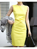 baratos Vestidos de Mulher-Mulheres Trabalho Delgado Tubinho Vestido Sólido Cintura Alta Acima do Joelho