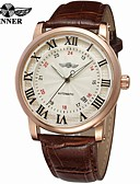 cheap Sport Watches-WINNER Men's Wrist Watch Automatic self-winding 30 m Calendar / date / day Cool Leather Band Analog Vintage Casual Fashion Black / Brown - White / Silver Rose Gold / White Black / Rose Gold
