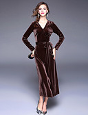 preiswerte Damen Kleider-Damen Samt Swing Kleid Solide Maxi V-Ausschnitt
