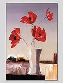 tanie Sukienki dla dziewczynek-Hang-Malowane obraz olejny Ręcznie malowane - Kwiatowy / Roślinny Klasyczny Brezentowy / Rozciągnięte płótno