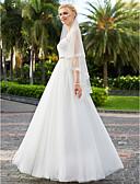 baratos Vestidos de Casamento-Linha A / Princesa Decote Princesa Longo Chiffon / Tule Vestidos de casamento feitos à medida com Miçangas / Fitas e Laços de LAN TING