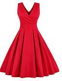 baratos Vestidos de Mulher-Mulheres Para Noite Vintage / Moda de Rua Evasê Vestido Sólido Decote em V Profundo Acima do Joelho Vermelho / Laço