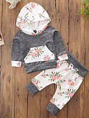 cheap Women's Sweaters-Girls' Floral Color Block Clothing Set, Cotton Polyester Fall Spring, Fall, Winter, Summer Long Sleeves Cute Active Gray