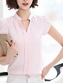 baratos Blusas Femininas-Mulheres Blusa - Para Noite Sólido Algodão Decote V
