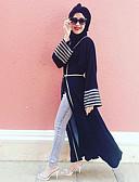preiswerte Damen Kleider-Damen Street Schick Aufflackern-Hülsen- Abaya Kleid - Streife, Solide Einfarbig Maxi Hohe Taillenlinie