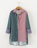 billige Topper til damer-Bomull Skjortekrage Skjorte Dame - Stripet / Fargeblokk, Drapering Aktiv Ut på byen