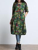 tanie Print Dresses-Damskie Wzornictwo chińskie Bawełna Luźna Sukienka - Kwiaty Nad kolano