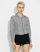 preiswerte Hemd-Damen Gestreift Baumwolle Hemd, Quadratischer Ausschnitt