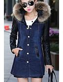 preiswerte Damen Jeansjacken-Damen - Solide Ausgehen Jeansjacke, V-Ausschnitt