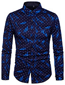 cheap Men's Shirts-Men's Street chic Cotton Slim Shirt - Polka Dot / Graphic Print / Long Sleeve