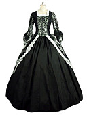 cheap Historical & Vintage Costumes-Rococo / Victorian Costume Women's Dress / Party Costume / Masquerade Black Vintage Cosplay Lace / Linen / Satin Long Sleeve Long Length
