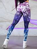tanie Damskie spodnie-Damskie Sportowy Legging - Geometric Shape, Nadruk Wysoka talia / Sportowy look