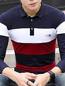 abordables Camisetas y Tops de Hombre-Hombre Activo / Chic de Calle Algodón Camiseta, Cuello Camisero Delgado 3D Blanco XL / Manga Larga