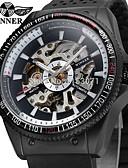tanie Zegarki mechaniczne-WINNER Męskie Zegarek na nadgarstek Nakręcanie automatyczne 30 m Wgłębione grawery Silikon Pasmo Analog Vintage Casual Moda Czarny - Biały Czarny