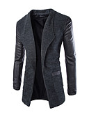 cheap Men's Sweaters & Cardigans-Men's Long Cotton Trench Coat - Solid Colored Stand
