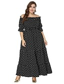 cheap Women's Dresses-Women's Plus Size Beach Boho Swing Dress - Polka Dot Black Maxi Boat Neck / Summer