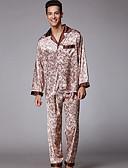 זול פיג'מות וחלוקים לגברים-בגדי ריקוד גברים צווארון חולצה חליפות פיג'מות פרחוני / 2pcs