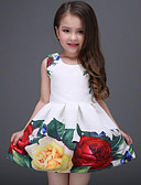 halpa Tyttöjen mekot-Lapset Tyttöjen Makea Päivittäin Pyhäpäivä Kukka Painettu Hihaton Mekko Valkoinen