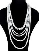 baratos Vestidos de Mulher-Mulheres colares em camadas - Imitação de Pérola Fashion, Oversized Branco Colar Para Cerimônia, Baile de Formatura