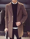זול גברים-ג'קטים ומעילים-אחיד צווארון חולצה ארוך מעיל - בגדי ריקוד גברים / שרוול ארוך