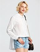 preiswerte Hemd-Damen Gestreift - Street Schick Baumwolle Hemd, Hemdkragen