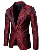 cheap Men's Jackets & Coats-Men's Sophisticated Slim Blazer-Floral Print,Cut Out / Long Sleeve