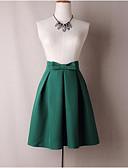 tanie Sukienki-Damskie Bawełna Linia A Spódnice Solidne kolory