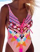 tanie Bikini i odzież kąpielowa 2017-Damskie Wyrafinowany styl Pasek Jednoczęściowy - Nadruk, Geometric Shape