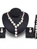 זול חצאיות לנשים-בגדי ריקוד נשים פנינה סט תכשיטים - דמוי פנינה, ציפוי זהב הצהרה, גדול לִכלוֹל זהב עבור חתונה Party / עגילים
