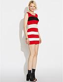baratos Vestidos de Mulher-Mulheres Para Noite Moda de Rua Algodão Bainha Vestido Listrado Estampa Colorida Médio