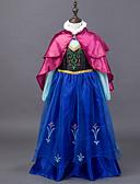 ieftine Rochii Fata cu Flori-Prințesă DinBasme Anna Rochii Manta Crăciun Mascaradă Festival / Sărbătoare Costume de Halloween Ținutele Albastru Bloc Culoare Rochii Șal Adorabil