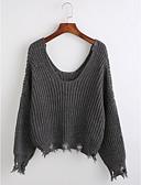 tanie Swetry damskie-Damskie Głęboki dekolt U Pulower - Frędzel, Solidne kolory / Geometric Shape Długi rękaw