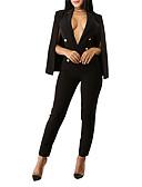 povoljno Ženski jednodijelni kostimi-Žene Izlasci / Klub Jednostavan Duboki V Obala Crn Jumpsuits, Jednobojni S izrezom M L XL Visoki struk Dugih rukava Proljeće Jesen