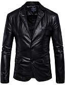 cheap Dress Watches-Men's Work Street chic Leather Jacket - Solid Colored Shirt Collar