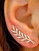 hesapli Maksi Elbiseler-Kadın's Kübik Zirconia Vidali Küpeler / Kulak Tırmanışçıları - Leaf Shape Basit, Vintage, Moda Altın / Gümüş / Gül Altın Uyumluluk Günlük / Çalışma