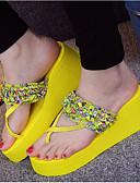 preiswerte Armband-Uhren-Damen Schuhe EVA Sommer Komfort Slippers & Flip-Flops Keilabsatz Offene Spitze Schwarz / Gelb / Grün