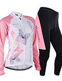 preiswerte T-Shirt-Nuckily Damen Langarm Fahrradtrikots mit Fahrradhosen - Rosa Geometrisch Fahhrad Trikot/Radtrikot Kleidungs-Sets, Anatomisches Design,