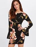 baratos Vestidos de Mulher-Mulheres Manga Alargamento Bainha Vestido - Estampado