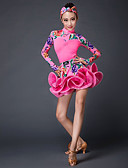 cheap Ballroom Dance Wear-Latin Dance Outfits Performance Stretch Yarn Pattern / Print Long Sleeves Natural Skirts Top
