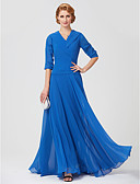 cheap Mother of the Bride Dresses-Sheath / Column V Neck Ankle Length Jersey Mother of the Bride Dress with Ruched Side Draping by LAN TING BRIDE®