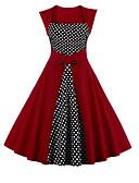 hesapli Vintage Kraliçesi-Kadın's Büyük Bedenler Parti Tatil Sokak Şıklığı Kılıf Elbise - Yuvarlak Noktalı Kare Yaka Diz-boyu Yüksek Bel
