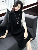 baratos Vestidos Femininos-Mulheres Moda de Rua Tricô Vestido Estampa Colorida Colarinho Chinês Médio