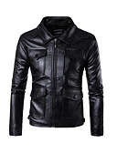 cheap Men's Jackets & Coats-Men's Work Spring / Fall Short Blazer, Solid Colored Stand Long Sleeve PU Black XXXL / 4XL / XXXXXL