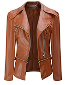 cheap Women's Leather & Faux Leather Jackets-Women's Going out Street chic Fall / Winter Short Leather Jacket, Solid Colored Notch Lapel Long Sleeve Polyester Black / Beige / Army Green XXL / XXXL / 4XL