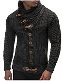 cheap Men's Sweaters & Cardigans-Men's Weekend Long Sleeve Slim Cardigan - Solid Colored Turtleneck